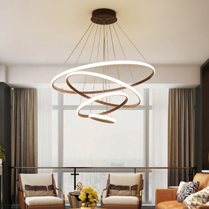 Image 2 - Black/White/Coffee Color Modern led pendant lights for living room dining room Circle Rings aluminum Pendant Lamp fixtures