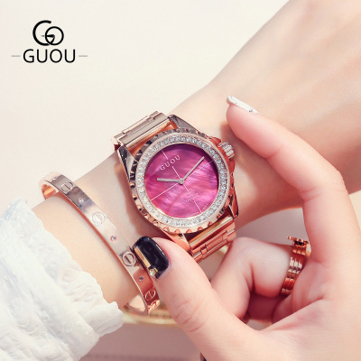купить GUOU Brand New Fashion Rose Gold Watch Women Rhinestone Dress watches Luxury stainless steel waterproof women quartz Wrist Watch по цене 3551.51 рублей