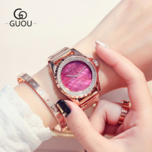 GUOU Brand New Fashion Rose Gold Watch Women Rhinestone Dress watches Luxury stainless steel waterproof women quartz Wrist Watch недорого