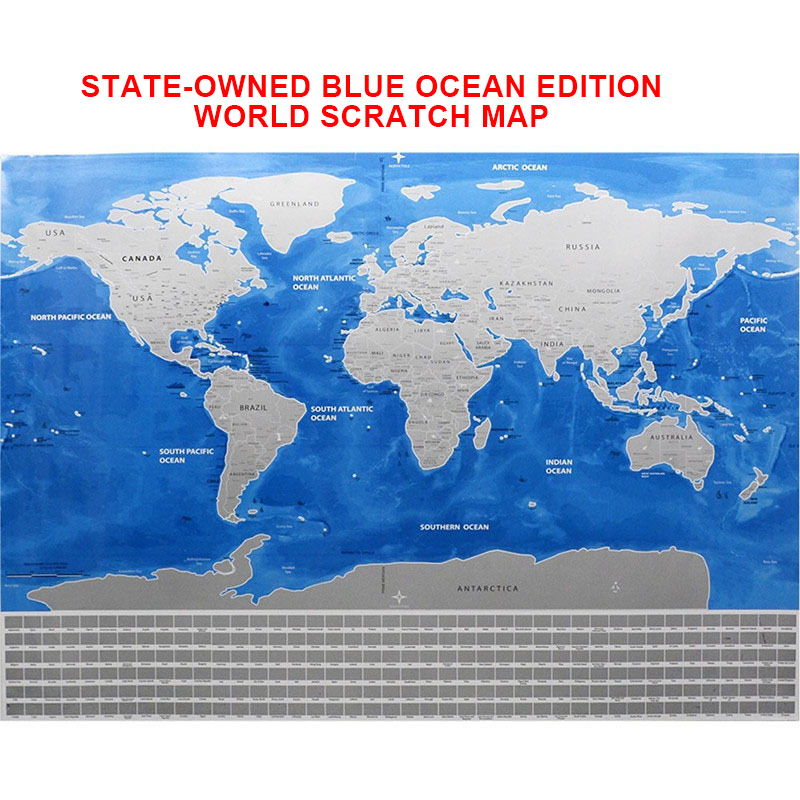 Deluxe Erase Black World Map Scratch Off World Ocean Map Personalized Travel Scratch For Map Room Home Decoration Wall Stickers