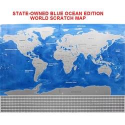 Делюкс стереть черный мир географические карты Скретч мир карта океана персональный путешествия царапинам для географические карты