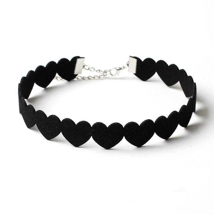 af0214d611c66 Women Black Brown Suede Heart Shaped Collar Choker Necklace Vintage ...