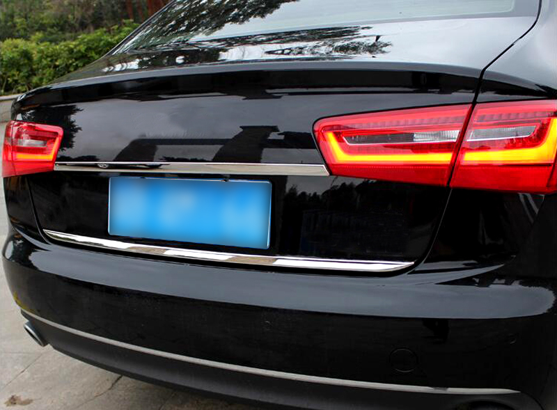 1 Piece Car Rear trunk Gate Lid Cover Trim Car exterior Accessories Stainless Steel Styling For Audi A6 C7 2012 2013 2014 2015 12pc canbus car led light bulbs interior package kit for 2012 2014 audi a6 c7 dome glove box trunk license plate lamp white