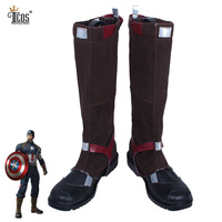 Captain America Cosplay Boots Adult Man Halloween Carnival Party Battleframe Artificial Leather Zipper Back Shoes