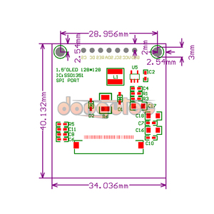 Image 5 - dongutec 1.5 inch 7PIN Full Color OLED module Display Screen SSD1351 Drive IC 128(RGB)*128 SPI Interface for 51 STM32 Arduino