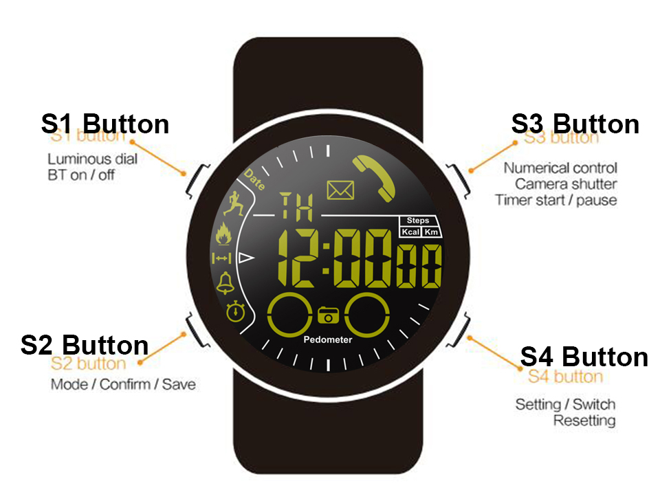 Time Owner EX28 Bluetooth Smart Watch Waterproof Men's Wristwatch Sport  Pedometer Stopwatch Call SMS Reminder For iPhone Android