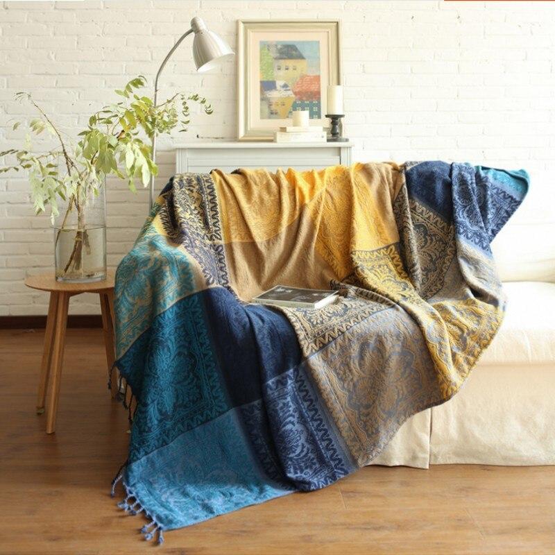 Big size Bohemian misto rosso Ciniglia divano copertura, stile astratto coperta indossabile, divano asciugamano, auto coperta-in Coperte da Casa e giardino su  Gruppo 1