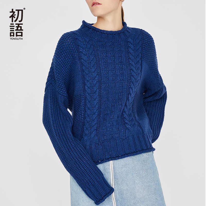 Toyouth Basic Twist Solid Sweaters Women O-Neck Knitted Sweater Long Sleeve Female Pullover Casual Korean Pullovers Winter Tops