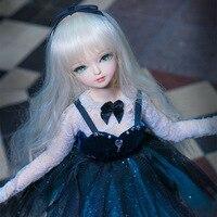 Бесплатная доставка 1/4 bjd куклы 45 см с/без одежды обувь долго коричневый волнистые волосы макияж Совместное тела