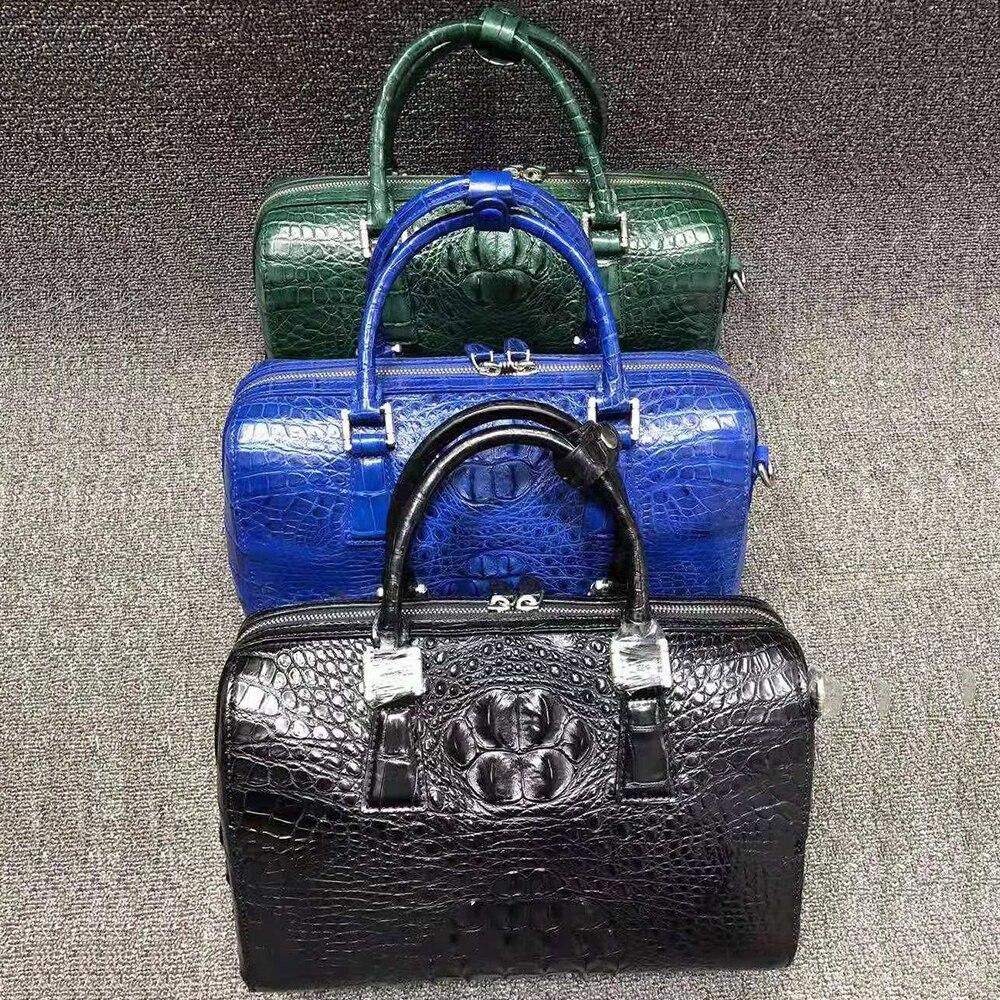 Genuine Crocodile Leather boston Bag women fashion Genuine Alligator leather handbag with long shoulder strap UBEJ0015