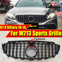 W213 E-Class grill grille GTS style ABS Silver with 360 Degree camera E180 E200 E250 Front Bumper grills without sign 2016-2018
