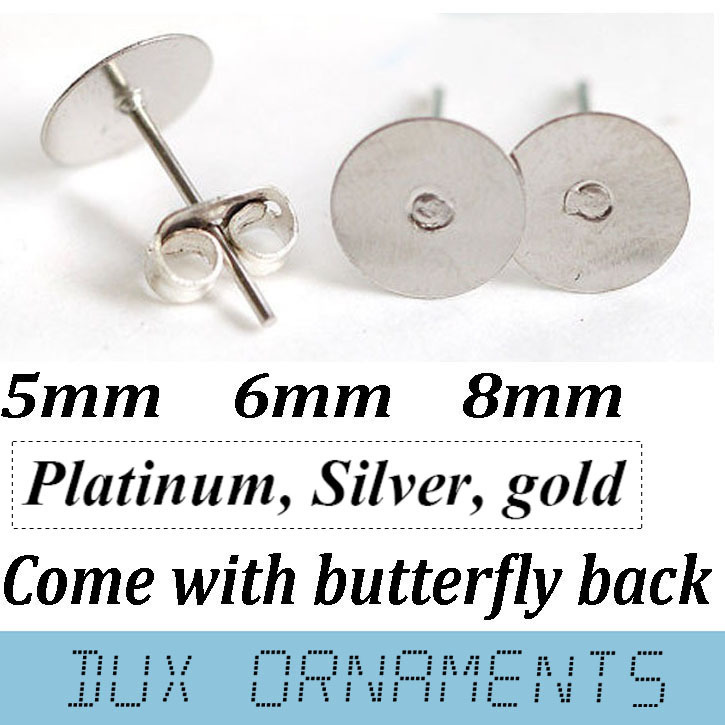 1000sets 5mm/6mm/8mm Flat Pad Silver/Gold/Rhodium Plated Earring Stud Post + Butterfly Backsbarrel back Findings ear ring