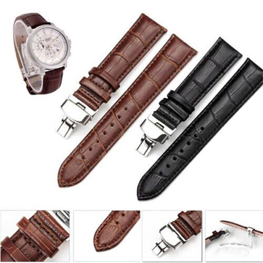 Genuine Leather Watchbands 12Mm 14Mm 16Mm 18Mm 20Mm Black Dark Brown Women Men Cowhide Watch Band Strap Belt With Buckle durable kitchen faucet pull out deck mounted pull swivel 360 degree rotating cold and hot water tap torneira dourada mixer tap