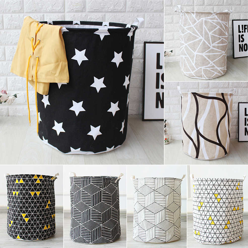 1pc Cloth Art Folding Geometry Dirty Clothes Toys Storage Bucket Household Storage Basket Dirty Clothes Laundry Basket 40*50cm