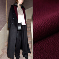 150CM Wide 850G/M Weight Double Faced Soft Thick Wine Red Cashmere Lamb Wool Fabric for Autumn Winter Dress Overcoat Jacket E581