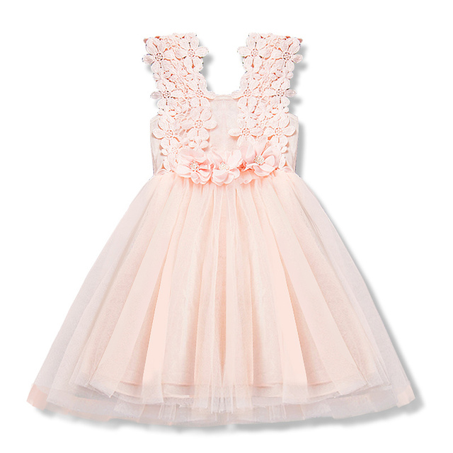 Baby Girls Birthday Party Lace Tulle Flower Gown Fancy Summer Casual Dress Sundress Girls Dress Little Girl Princess Tutu Gown