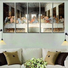 Last Supper Jesus Oil Painting on Canvas Waterproof for Home Decorations Canvas Wall Art Best Easter Day Gifts 5pcs 30x80cmx5