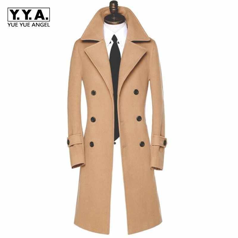 Mens British Slim Fit Long Over coat Outwear Lapel Woolen Parka Winter 2018
