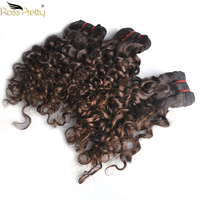 Brown Color Brazilian Remy Hair extension Curly Fashion style Human Hair weave bundles 3pcs Ross Pretty Hair Product