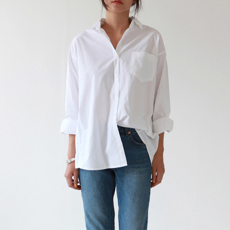 Женская однобортная рубашка BGTEEVER, белая блузка в офисном стиле с одним карманом и отложным воротником, повседневные топы для осени, 2019|Блузки и рубашки|   | АлиЭкспресс