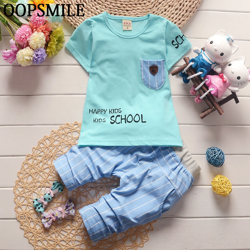 2017 Summer Baby Boys Suits Casual Style Infant Cotton Clothes Sets Male Children T Shirt+Casual Pants 2pcs Fashion Kids Suits