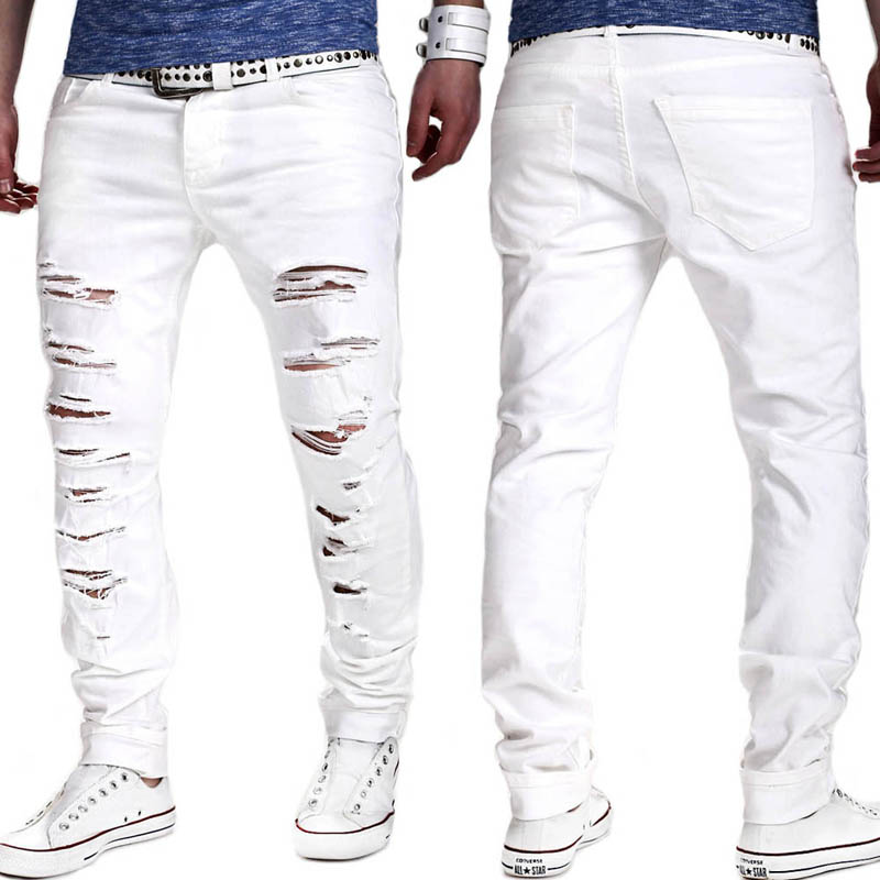 NEW 2018 Spring autumn fashion White Color Cotton Hip hop multi Ripped Hole Streetwear harem cargo pants men pantalon homme