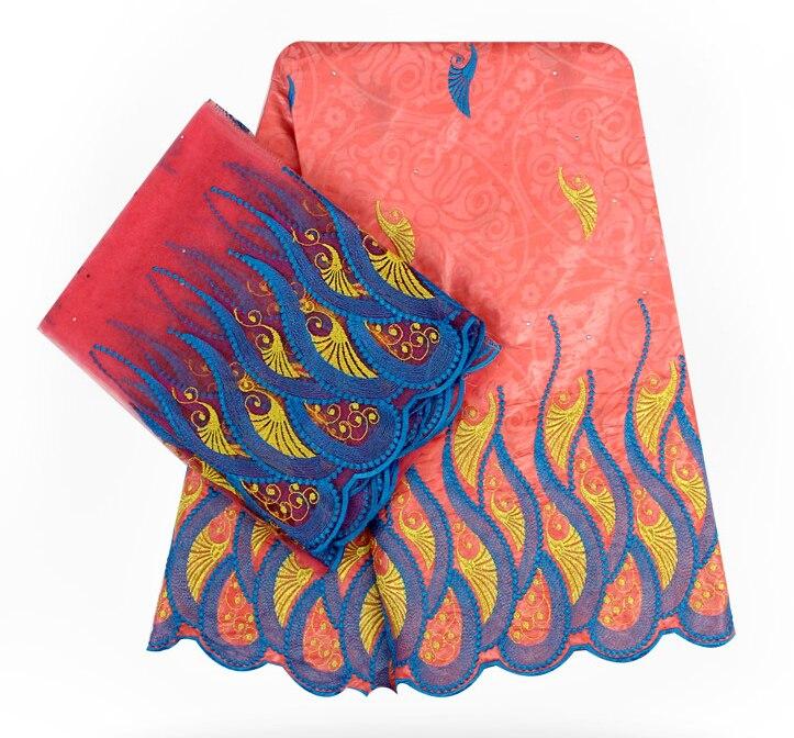 Nowy afryki Bazin Riche Getzner gwinei koronki tkanina wyszywana kamieniami hafty koronki brzoskwiniowy kolor afryki brokat koronki tkaniny na sukni w Koronka od Dom i ogród na  Grupa 1