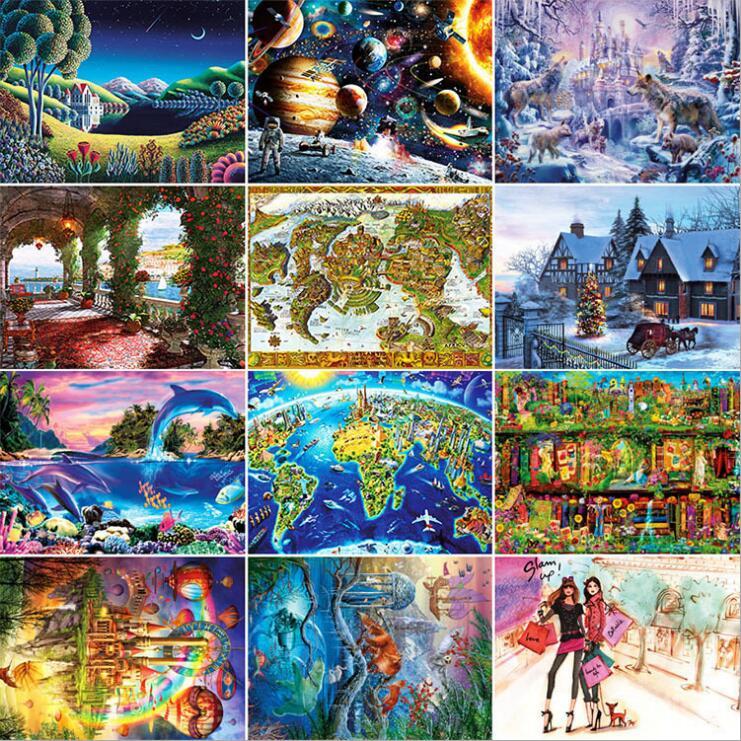 14 Types Hot Sale Adult 1000 pieces Jigsaw Landscape Cartoon Paper Puzzle Children Educational font b