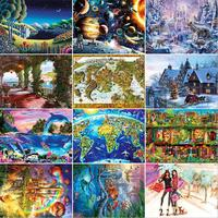 14 Types Hot Sale Adult 1000 Pieces Jigsaw Landscape Cartoon Paper Puzzle Children Educational Toy Christmas