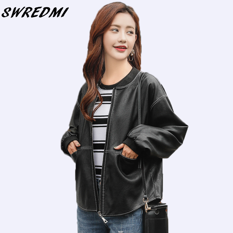 SWREDMI 2019 Spring And Autumn Basic Jacket Women   Leather   Zipper O-Neck Casual   Leather   Coat Outerwear Plus Size S-3XL Clothing