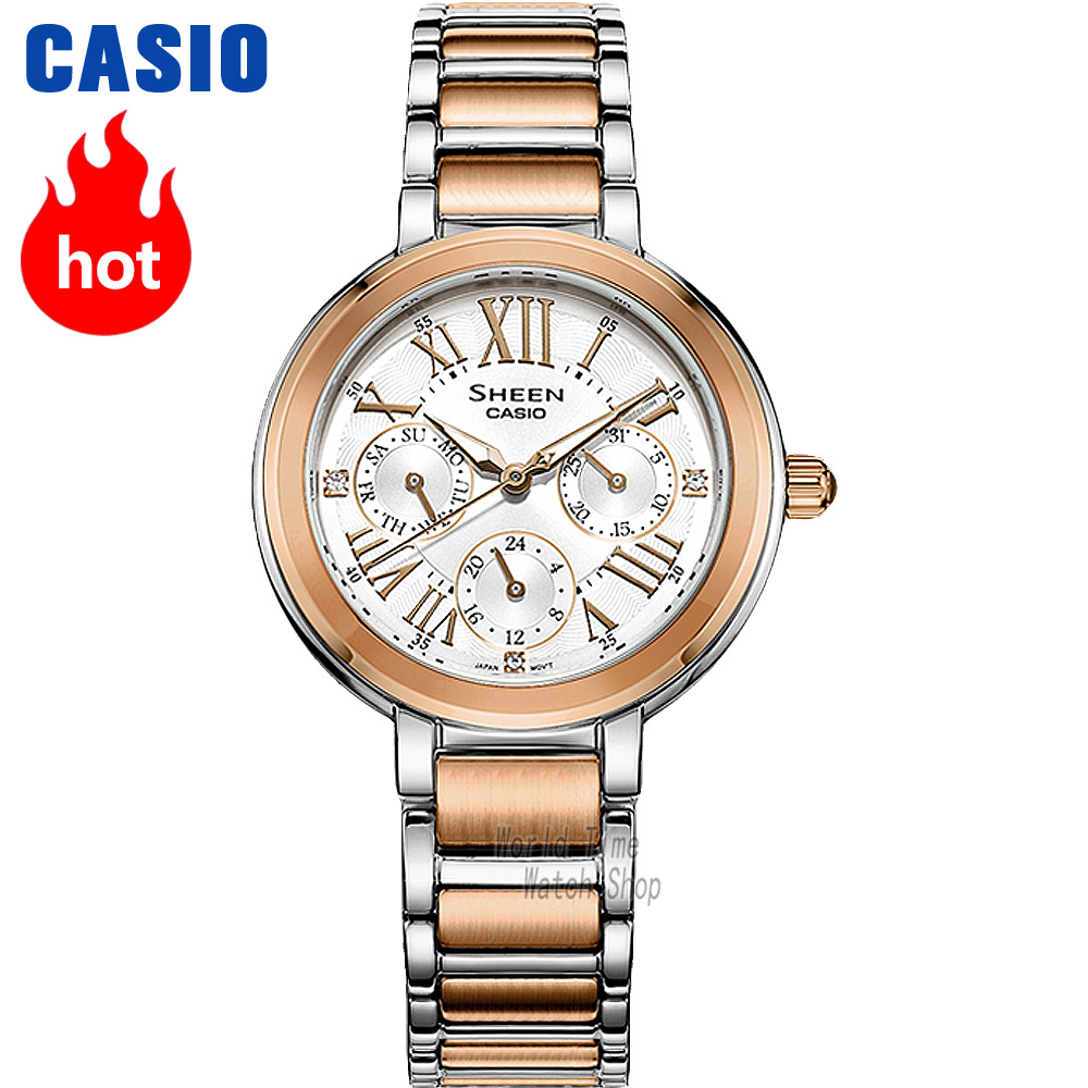 Casio Watch Swarovski Crystal Women Watches Top Brand Luxury Set Ladies Watch Women Waterproof Quartz Wristwatch Sport Clock
