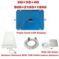 Triband repetidor трехдиапазонный повторитель 2 г 3 г 4 г LTE 900 1800 2100 мГц gsm и DCS WCDMA мобильного телефона усилитель сигнала celular усилитель
