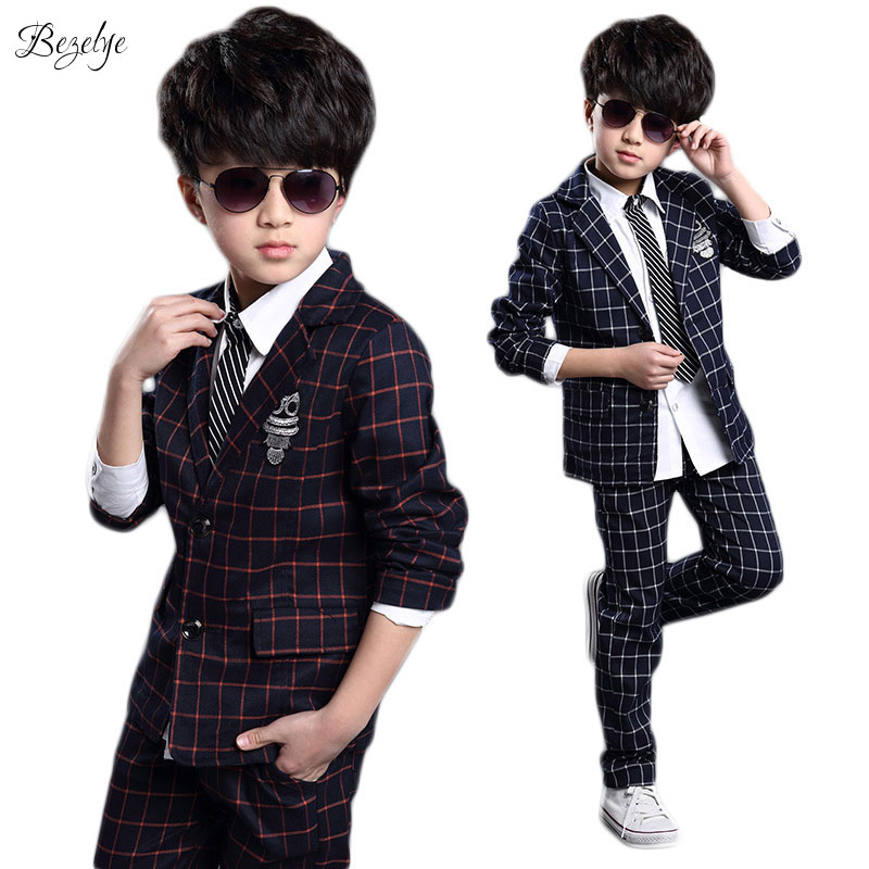 купить Boys Blazer Jacket+Pants 1 Set Children Boys Suits Spring and Autumn Boys Wedding Clothes 2018 New Boys Blazer Jacket Clothes по цене 1149.16 рублей
