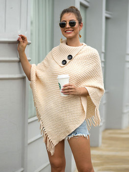 HEE GRAND New Women Wraps 2019 Fashion Tassels Cloaks Autumn Half Sleeve Knitted Pullovers Turn Down Collar Sweaters WZL1502 4