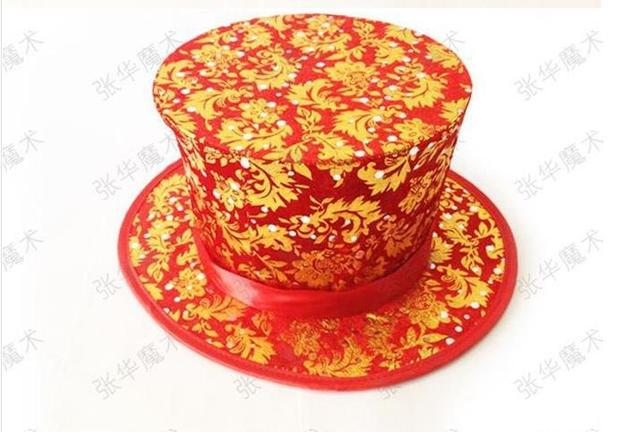 Folding Top Hat - Foliage - Red -Magic Trick,stage magic props,comedy,card,close-up,mentalism