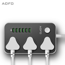 Power socket with 3-way 6 USB ports Surge protection power board 2M thick extension cable Smart charger