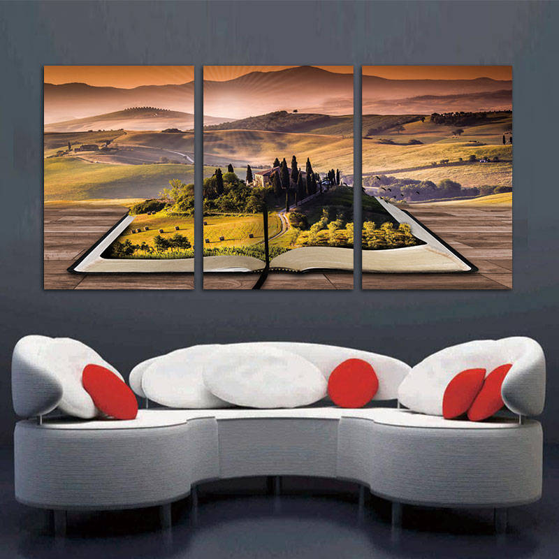 BANMU 3 Pcs Abstarct Art Fantasy Manor On Book Mountain Giclee Canvas Prints Modern Home Decoration
