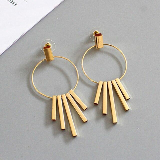 Geometric metal exaggerated style Temperament joker pendant earrings earrings je