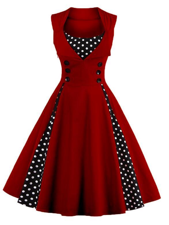 Vintage Polka Dot Patchwork Sleeveless Red Dress Rockabilly Swing Party Dress
