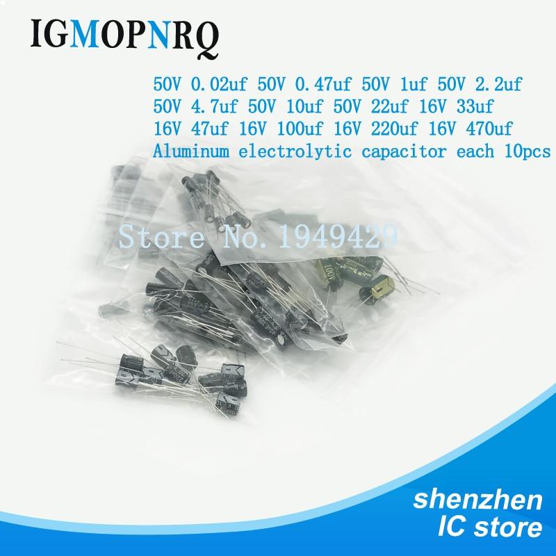 1 Juego de 120 piezas 12 valores 0,22 UF-470UF condensador electrolítico de aluminio surtido kit paquete