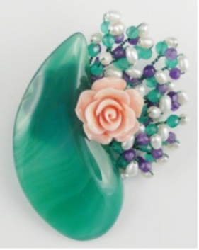 Semi-precious Stone Brooch For Women Green color Flower Brooch Free Shipping BR001 недорго, оригинальная цена