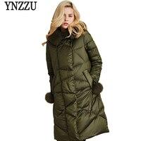 Высокое качество зима 2018 Для женщин белый гусиный пух куртка Элитная большой меховой воротник с капюшоном теплый элегантный женский пиджак