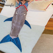 Simanfei  Blanket 2017 New Fashion Kids Sleeping Bag Shark Cartoon flannel Handmade Blanket Children Throw Bed Wrap Super Soft цена