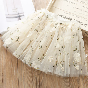 Image 2 - Flower Embroidery Kids skirts for Girls Pettiskirt Children Mesh Skirt Princess Baby tutu skirts Spring and summer