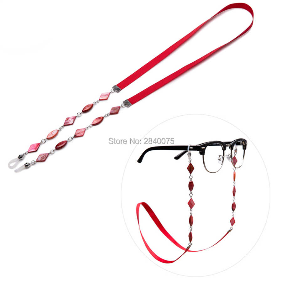Beautiful Red Shell beaded with Ribbon Sun glasses chain Anti-slip eyewear cord