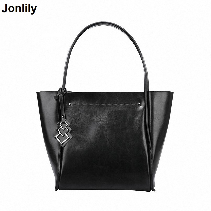 Women Bag Genuine Leather Handbag Casual Women's Tote Fashion Famous Brand Large Capacity Vintage Shoulder bag SLI-157 kamicy brand bag women genuine leather handbag fashion solid color cowhide shoulder bag large casual tote composite women bag