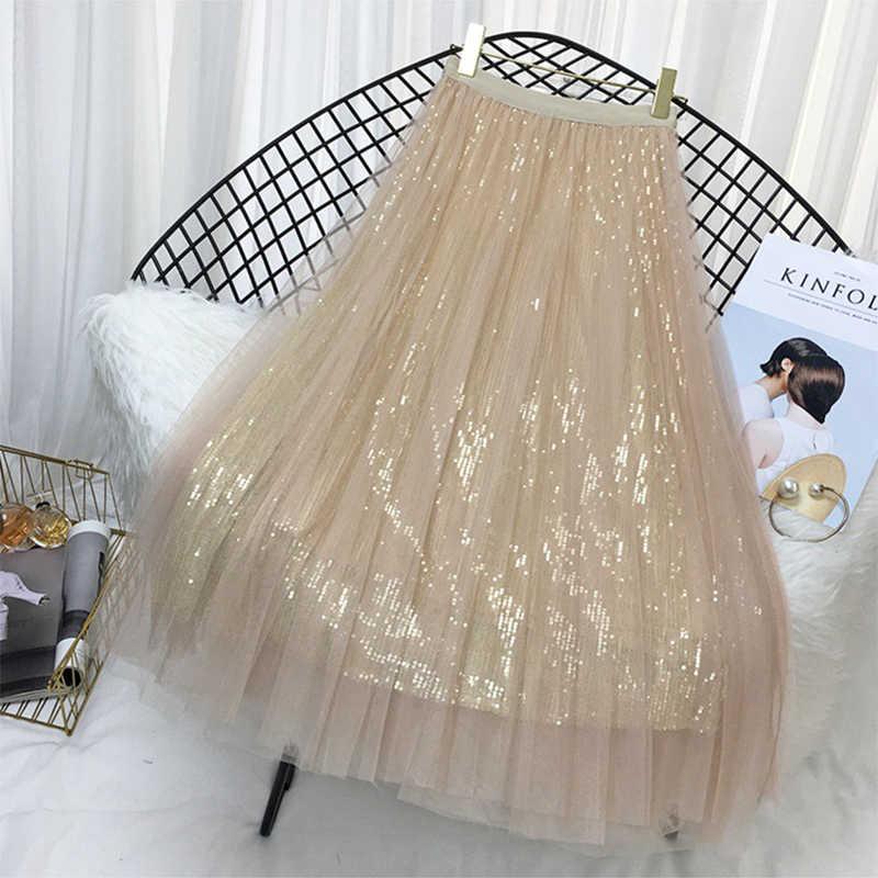 Wiosna lato spódnice kobiety Korea długi Tulle spódnica z cekinami linii plisowane spódnica trzy czwarte Chic wysokiej spódniczka z wysokim stanem kobiet