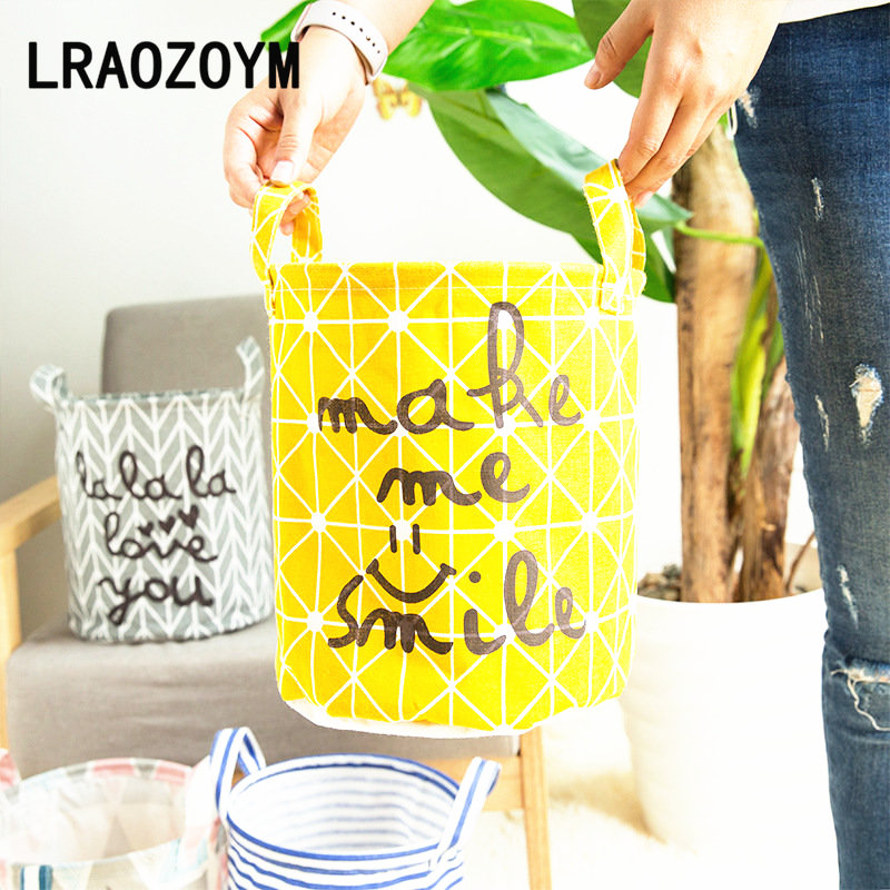 LRAOZOYM Laundry Basket Toy Storage Picnic Basket Box Cotton Washing Clothes Box Baby Orgnizer Bin Make Me Smile 23*26cm