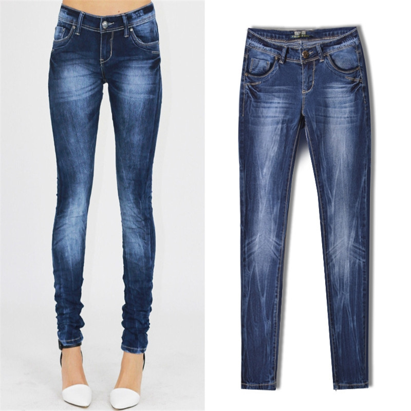 Hot Sale Women s Casual Slim Stretch Jeans Large Size New Ladies Cotton Denim Pants Stretch