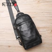 AETOO Leather Chest Bag Male Korean version Tide single shoulder bag leisure oblique cross small Baotou layer cowhide mens